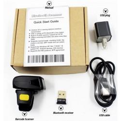 Skaner kodów kreskowych QR na palec  Aztec Maxicode Bezprzewodowy kabel Bluetooth 3 w 1
