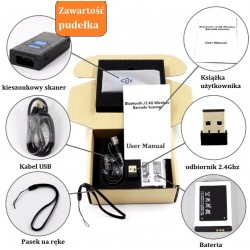 Kieszonkowy skaner kodów kresowych QR Bluetooth USB bezprzewodowy 2.4 2D QR