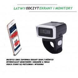 Czytnik kodów kreskowych QR na palec obrotowy 220 stopni potrójna komunikacja bateria 380mAh