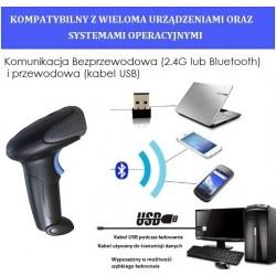 Bezprzewodowy skaner kodów kreskowych QR 2D Bluetooth 2.4G Kabel USB