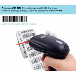Bezprzewodowy czytnik kodów kreskowych 1D ze stojakiem 2-w-1 (2,4 GHz + przewodowy USB 2.0)