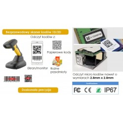 Przemysłowy 2.4G bezprzewodowy skaner kodów 1D 2D QR IP67 wodoodporny