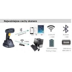 Bezprzewodowy czytnik kodów kreskowych z bazą 1D 2D z Bluetooth bateria 2200mAh
