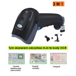 Bluetooth i 2.4G Bezprzewodowy skaner kodów OCR z dokumentów tożsamości i dowodu rejestracyjnego Auta