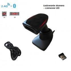 Bezprzewodowy skaner kodów 2d QR z bazą ładująco dokującą i stickiem 2.4G oraz Bluetooth 1Megapixel z wyświetlaczem