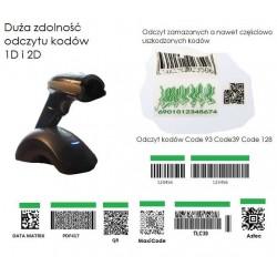Bezprzewodowy Skaner kodów z bazą ładująco dokującą 2.4Ghz Bluetooth kabel USB 4 w 1 QR Aztec MaxiCode