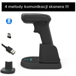 Skaner kodów kreskowych 1D 2D QR Aztec Data Matrix PDF417 2.4G Bluetooth kabel z bazą