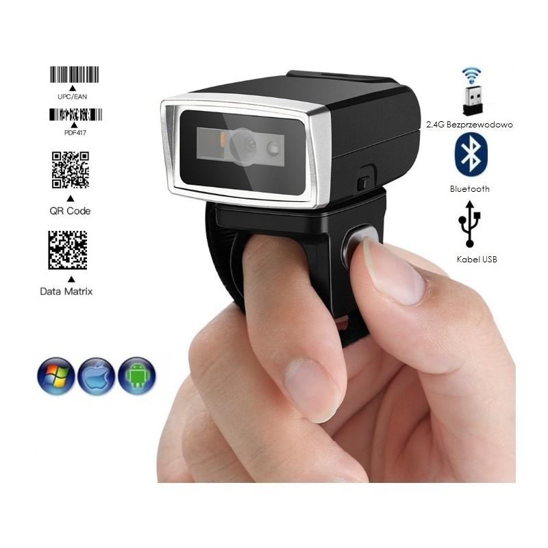 Czytnik kodów kreskowych QR na palec obrotowy 320 stopni potrójna komunikacja bateria 380mAh