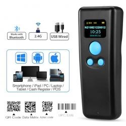 Mini skaner kodów QR z wyświetlaczem OLED Bluetooth Bezprzewodowy 2.4 i kabel USB
