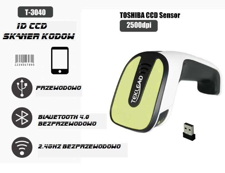 Bezprzewodowy Skaner kodów kreskowych Bluetooth CCD sensor Toshiba 2500dpi